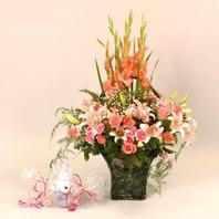 인형세트꽃바구니